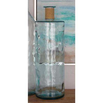 30 in. x 10 in. Tall Novelty Vase in Clear Glass with Raffia Rope Accents