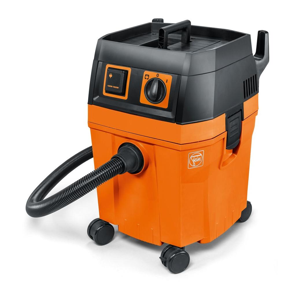 FEIN 8.4 Gal. Wet/Dry Vacuum A sophisticated professional vacuum with convenient storage area and practical accessory storage. Lightweight, robust, incredibly powerful. The NEW FEIN Turbo II sets standards in the compact class of wet/dry vacuums.