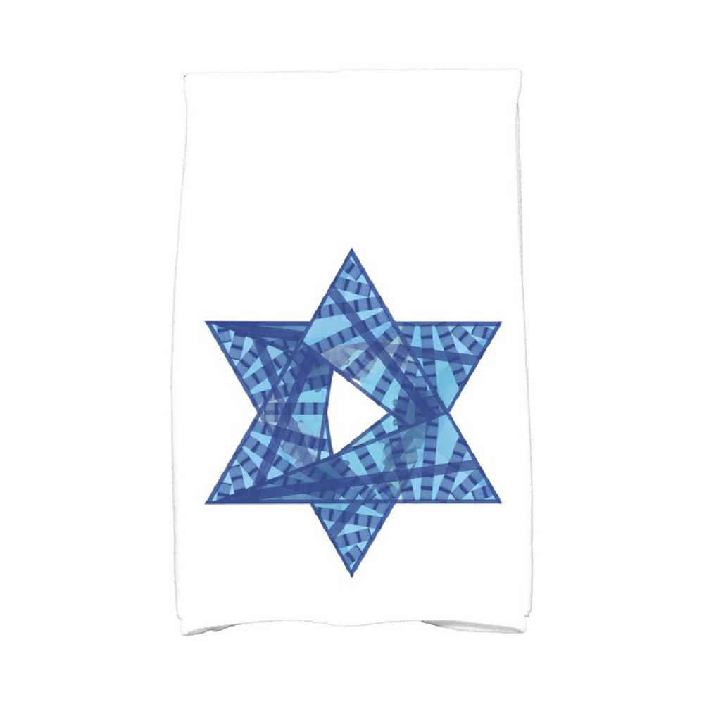 Royal Blue Star Mosaic Holiday Geometric Print Kitchen Towel