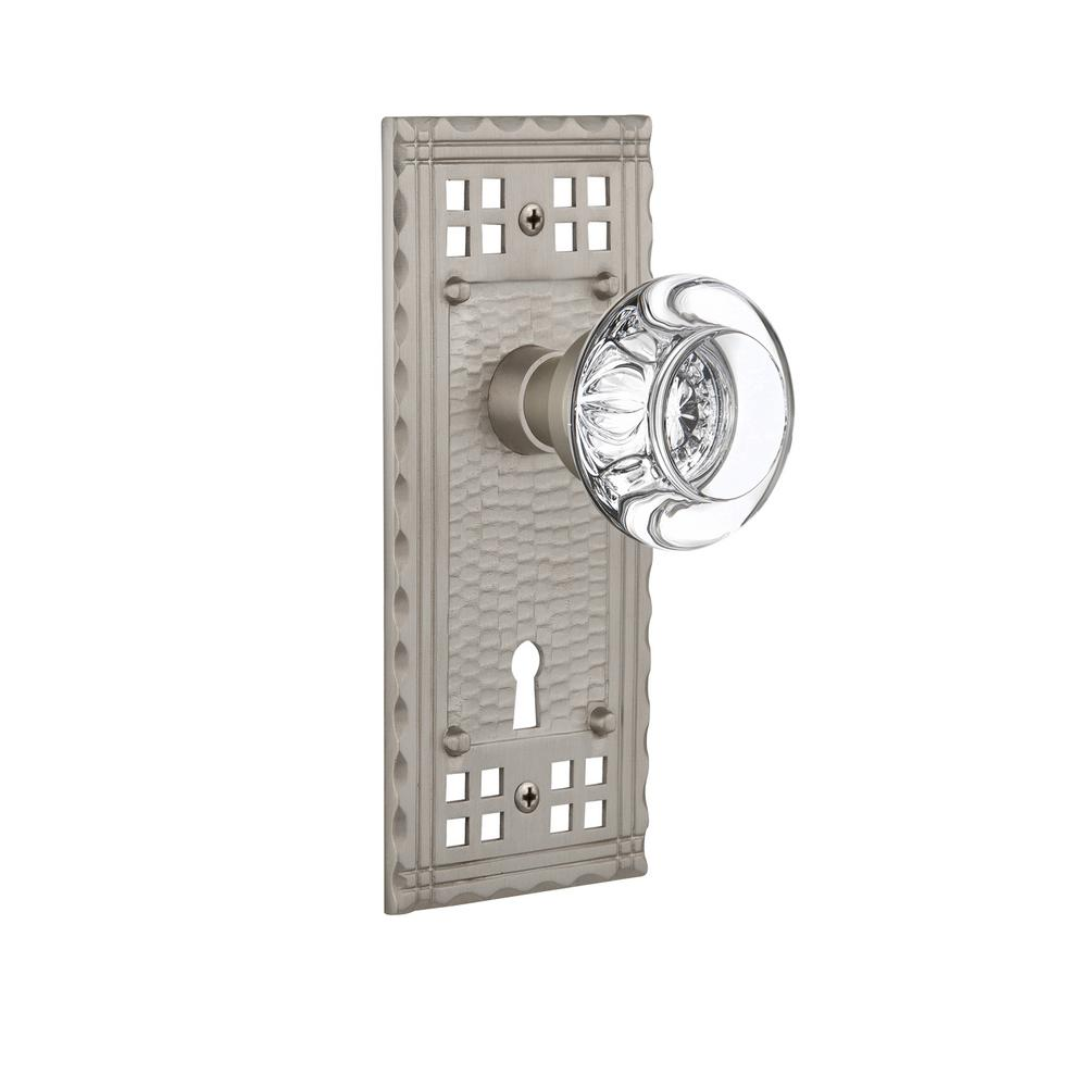 Craftsman Plate with Keyhole 2-3/8 in. Backset Satin Nickel Passage Clear