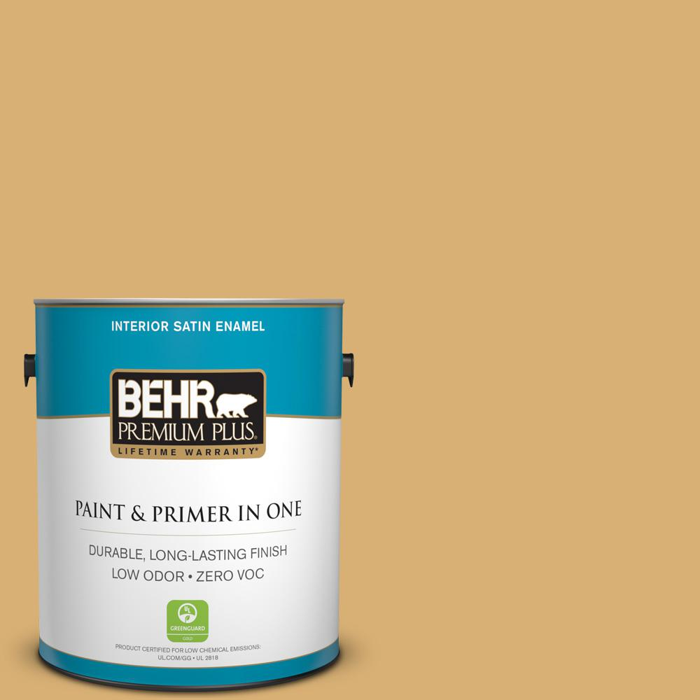 BEHR Premium Plus Home Decorators Collection 1-gal. #HDC-AC-08 Mustard Field Zero VOC Satin Enamel Interior Paint