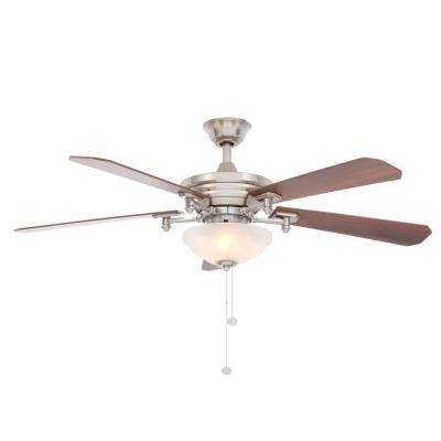 Baxter II 52 in. Indoor Brushed Nickel Ceiling Fan with Light Kit