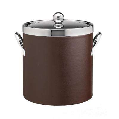 Contempo 3 Qt. Brown Ice Bucket with Chrome Lid and Side Handles