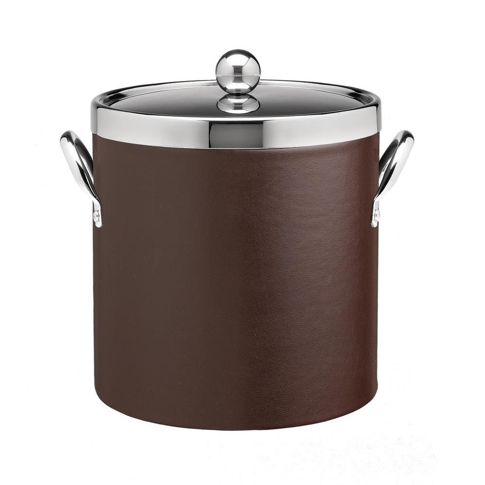 Contempo 3 Qt. Brown Ice Bucket with Chrome Lid and Side