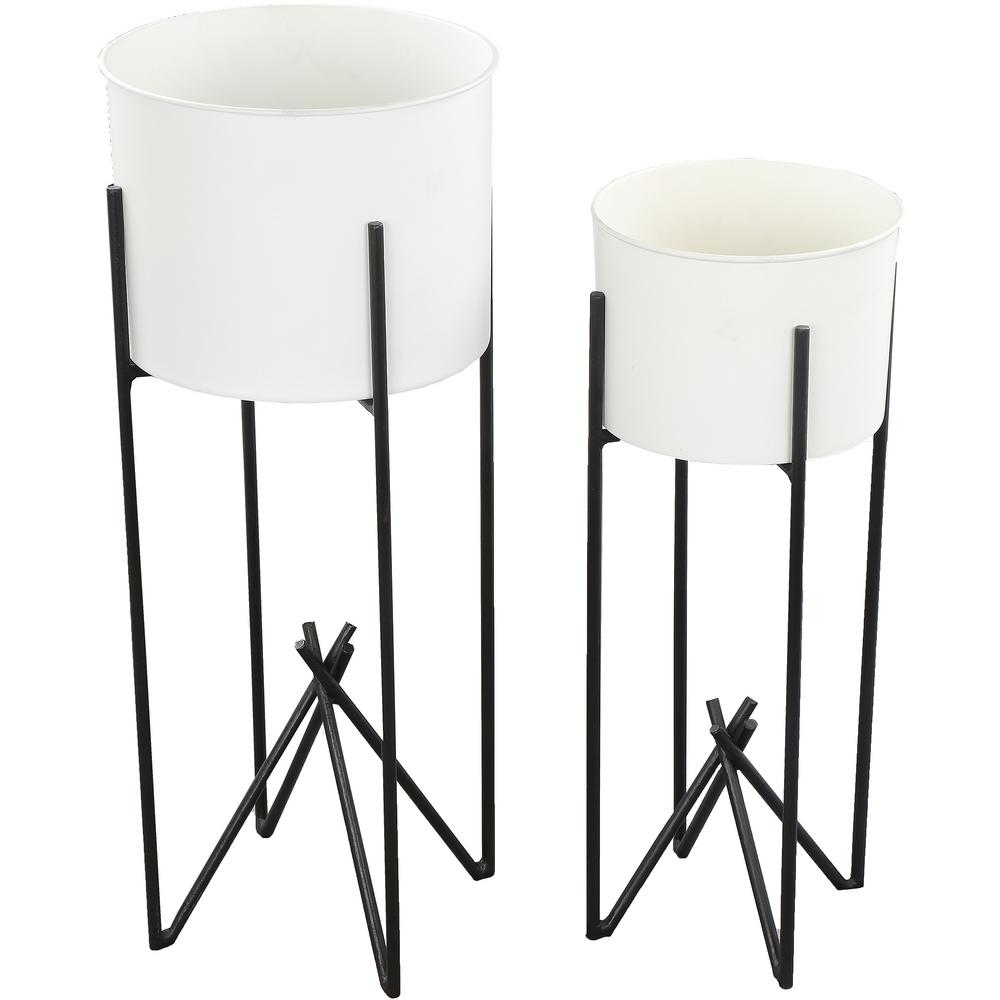 Tamma 26 in. x 10 in. White and Black Iron Planter (Set of 2)
