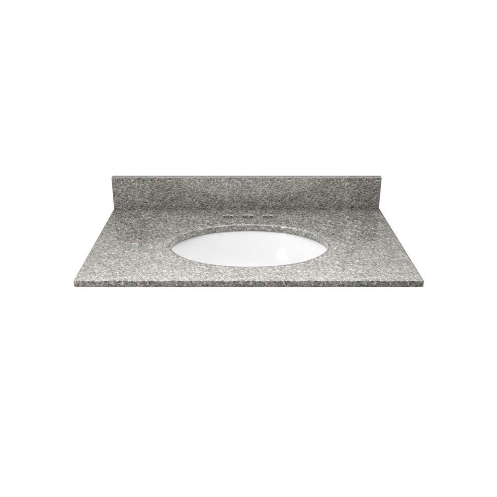 Solieque 25 in. Granite Vanity Top in Burlywood with White Basin