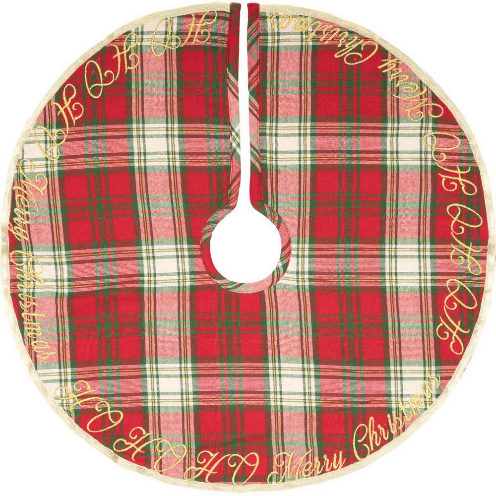 21 in. HO Holiday Cherry Red Farmhouse Christmas Decor Mini Tree Skirt