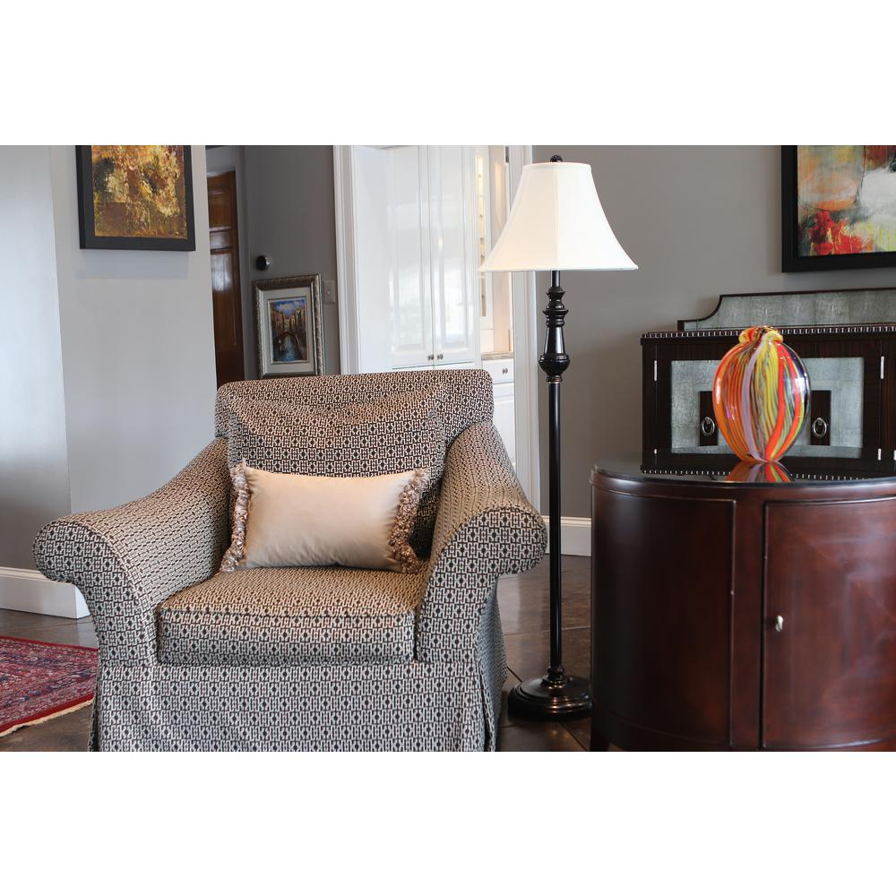 Decor Therapy Adele Sculpted 59.5 in. Bronze Floor Lamp with Linen Shade