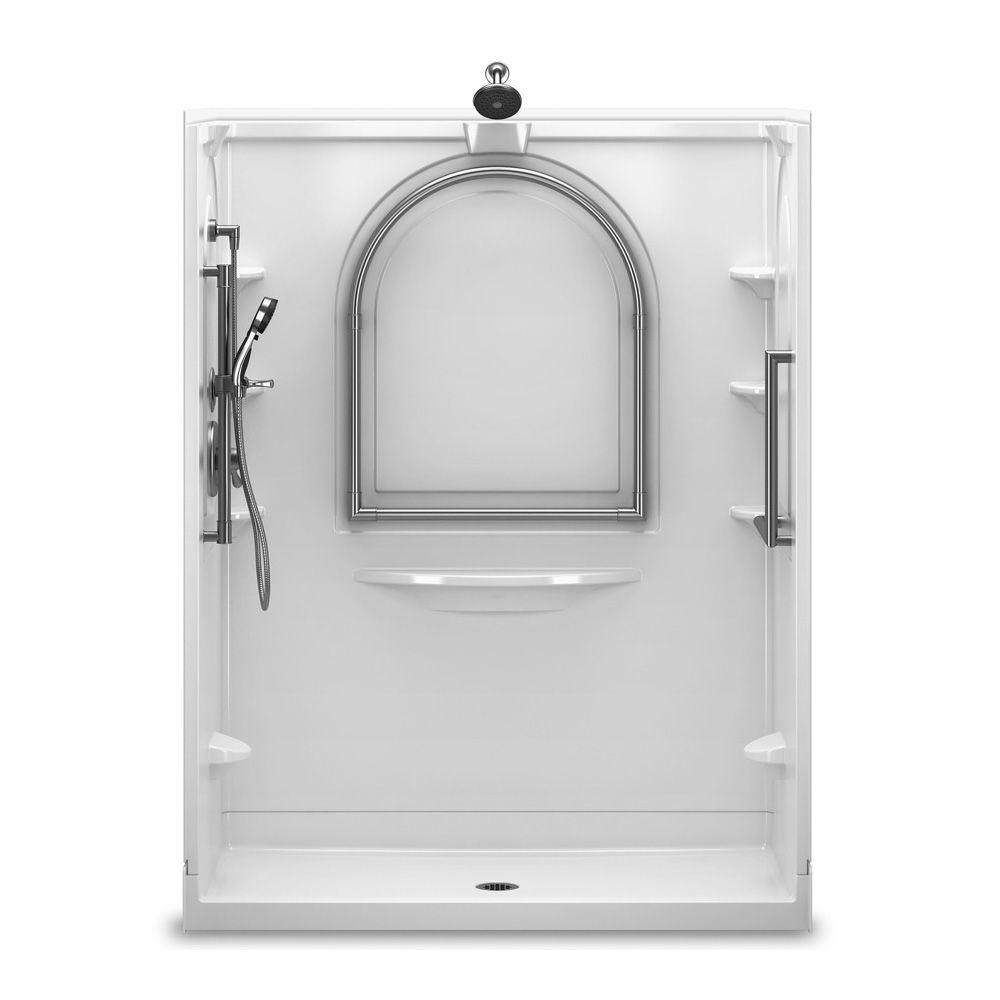 Delta 60 in. x 34 in. Traditional Shower System in White-DISCONTINUED