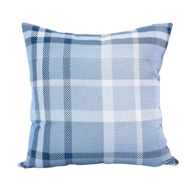 Tartan Midnight Square Outdoor Accent Lounge Throw Pillow
