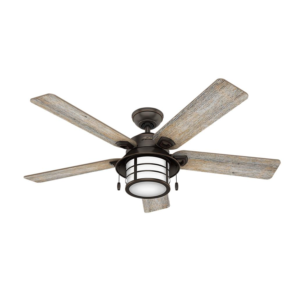 Hunter Key Biscayne 54 In Indoor Outdoor Onyx Bengal Ceiling Fan With Light Kit 59273 The