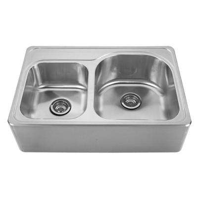 Noah's Collection Front Apron Brushed Stainless Steel 33 in. 0-Hole Double Bowl Kitchen Sink