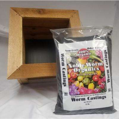 15-1/2 in. Square Western Red Cedar Planter with a 5 lb. Bag of Noble Worm Organic Worm Castings