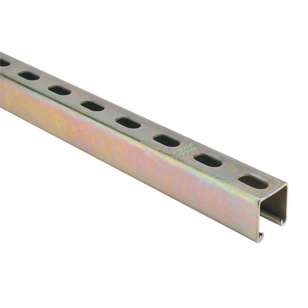 10 ft. 12-Gauge Half Slotted Metal Framing Strut Channel - Gold Galvanized