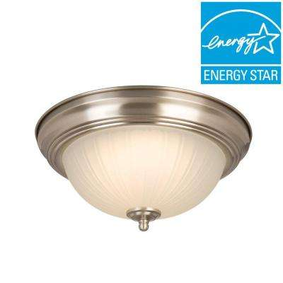11 in. 100-Watt Equivalent Brushed Nickel Integrated LED Flushmount with Frosted Glass Shade (2-Pack)