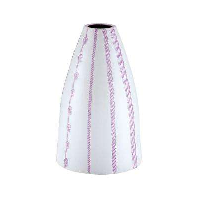 Ropes 22 in. Terracotta Decorative Vase in Radiant Orchid and White