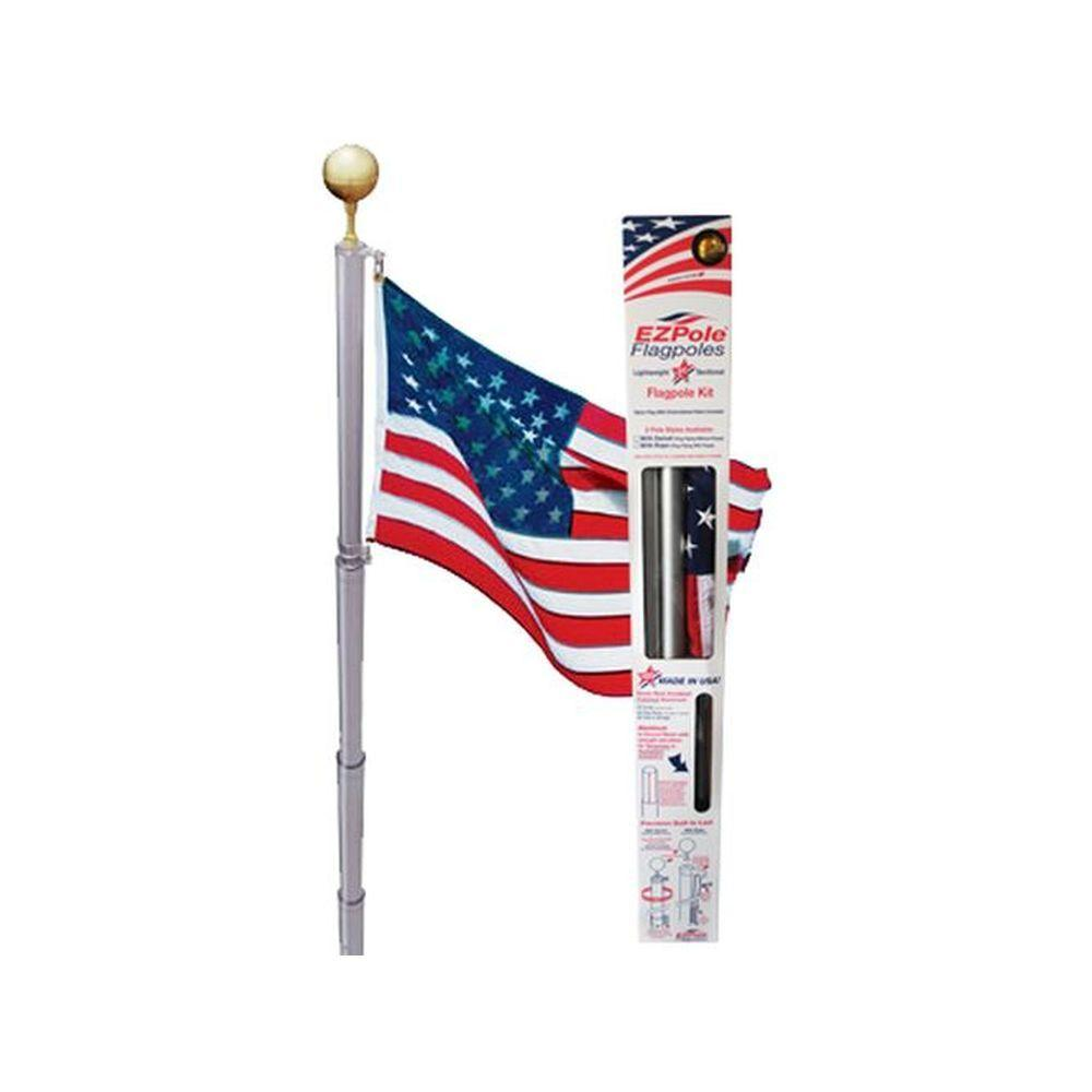 Liberty 21 ft. Aluminum Telescopic Flagpole Kit with Swivels