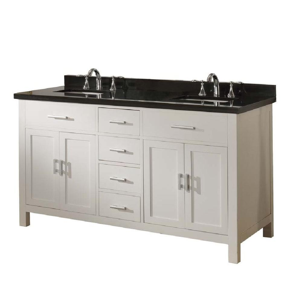 Direct Vanity Sink Hutton Spa 63 In Double Vanity In Pearl White With Granite Vanity Top In