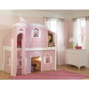 Cottage White Twin Low Loft Bed with Pink and White Tower, Top Tent, and Bottom Curtain