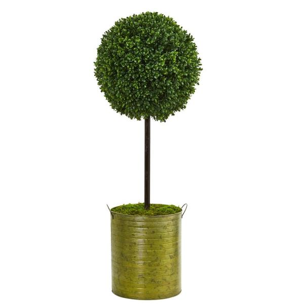 Nearly Natural 2.5 ft. High Indoor/Outdoor Boxwood Topiary Artificial Tree in Green Tin