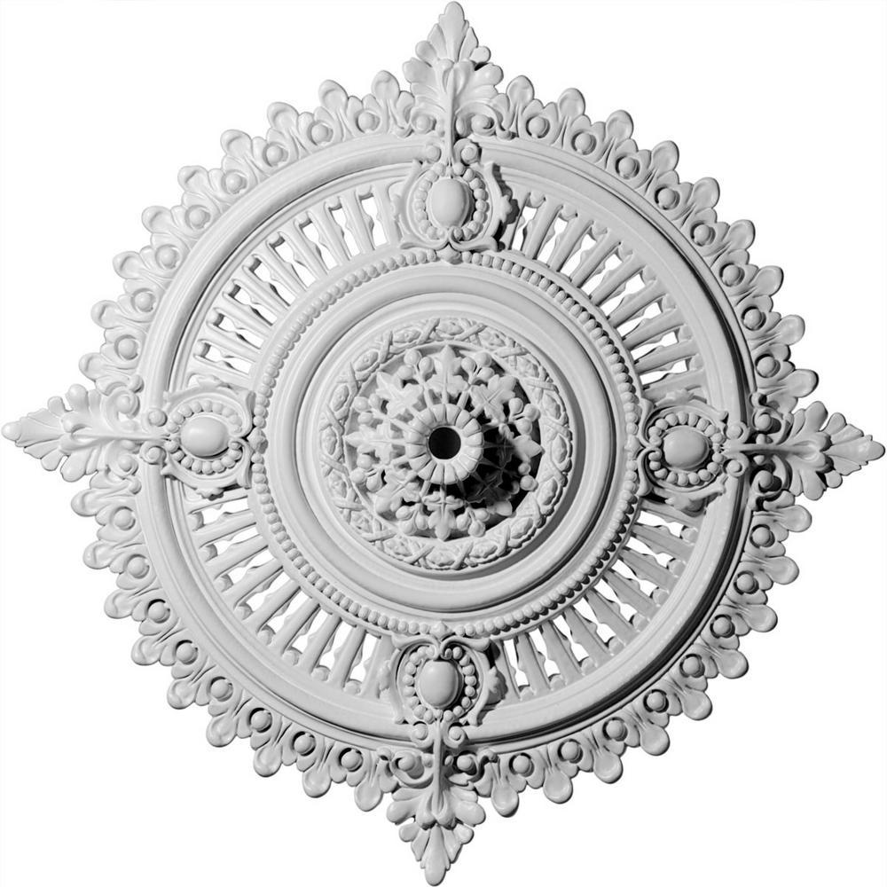 Ekena Millwork 4 In X 29 1 8 In X 29 1 8 In Polyurethane Haylynn Ceiling Medallion Moulding Cm29hypas The Home Depot