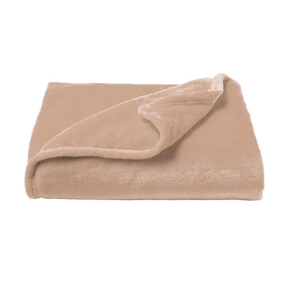 Oversized Desert Tan Velvet Polyester Microfiber Plush Throw Blanket