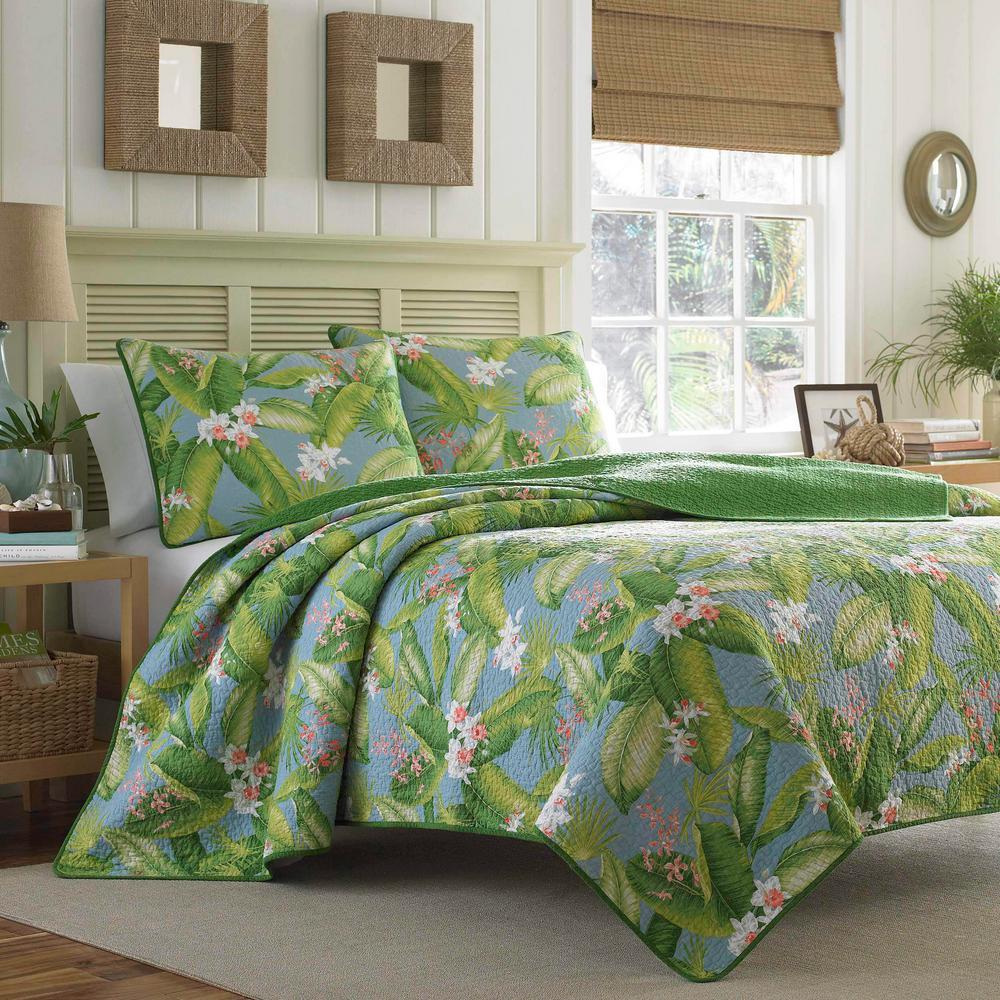 Aregada Dock 2-Piece Blue Floral Cotton Twin Quilt Set