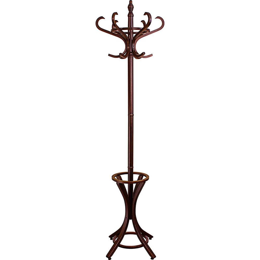 73 In. Dark Walnut Floor Standing Coat Rack With Umbrella
