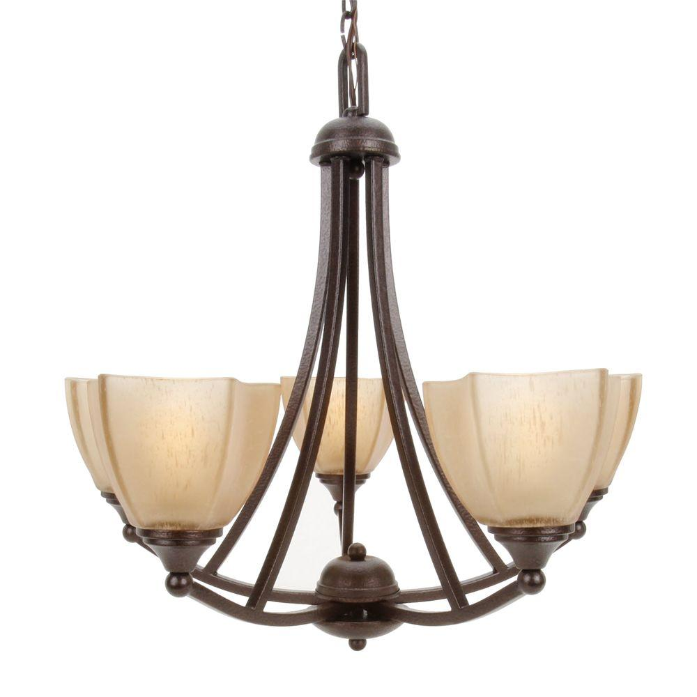 5-Light Copper Bronze Chandelier with Champagne Linen Washed Glass Shade