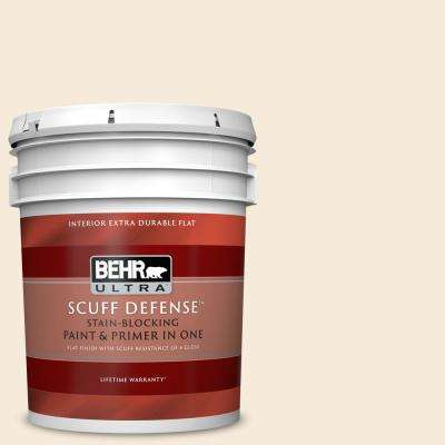 5 gal. #YL-W04 Linen White Extra Durable Flat Interior Paint and Primer in One