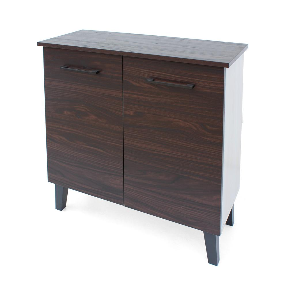 NobleHouse Noble House Walnut Brown 2-Door Cabinet with Sonoma Oak Interior
