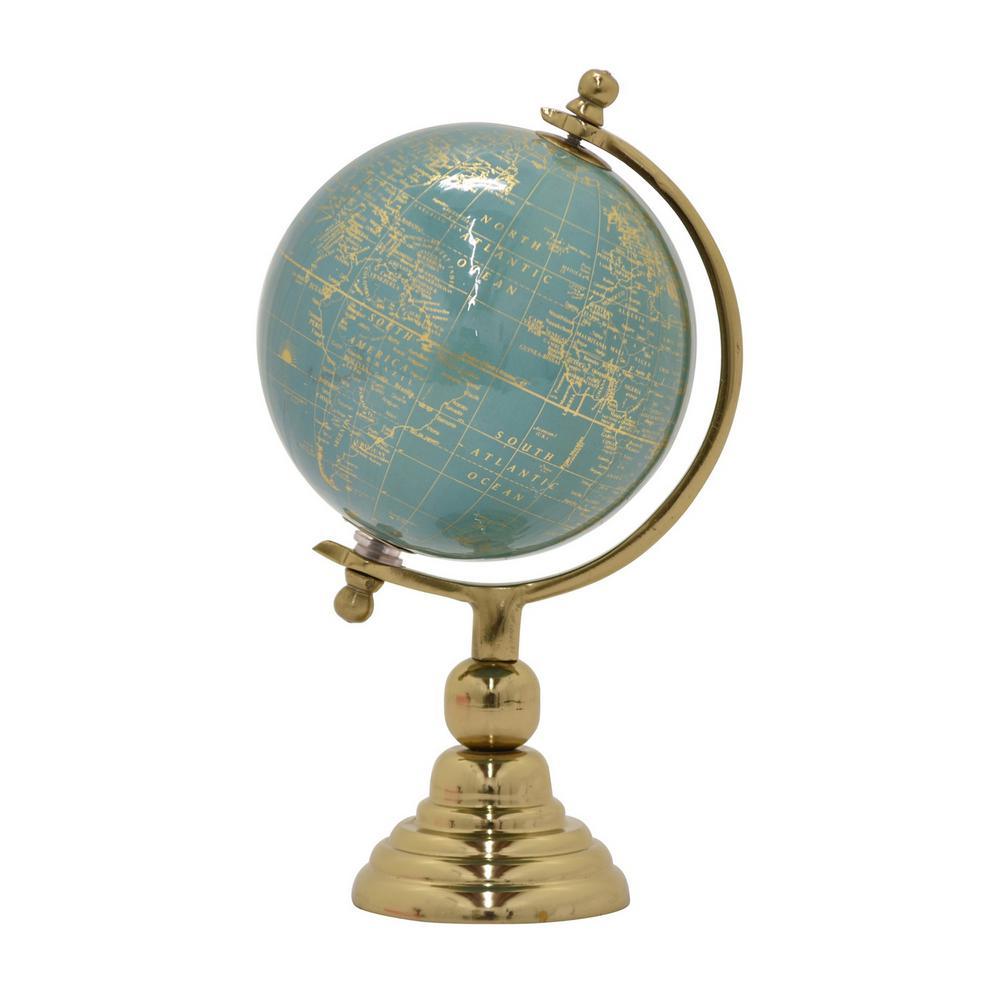 11 in. Metal Globe 6 in. - Nickel Base in Green