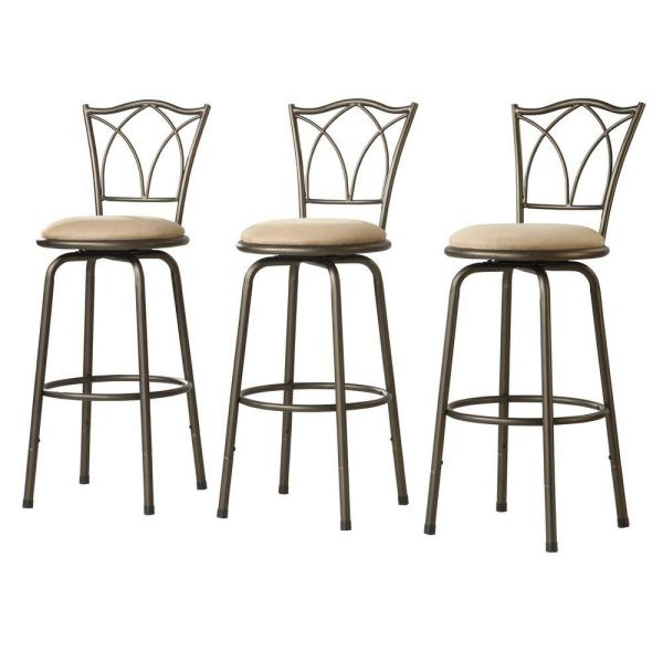 Adjustable Height Brown Swivel Cushioned Bar Stool (Set of 3) 40855C972W(3A)