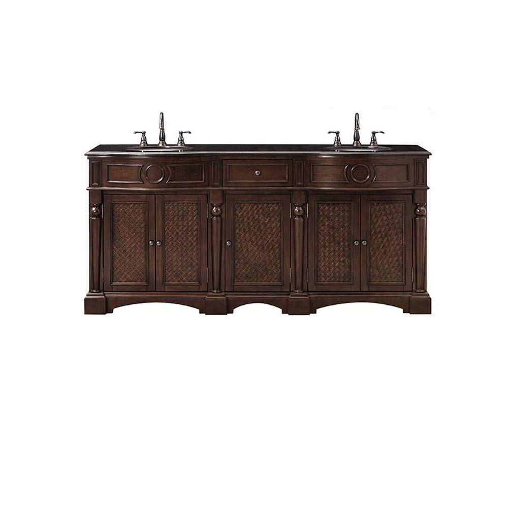Home Decorators Collection Palermo 73 in. Double Vanity in Antique Cherry with Marble Vanity Top in Black