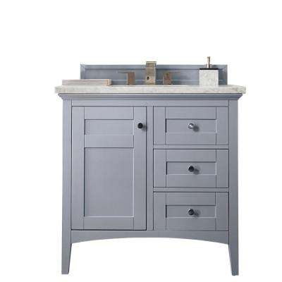 Palisades 36 in. W Single Vanity in Silver Gray with Marble Vanity Top in Carrara White with White Basin