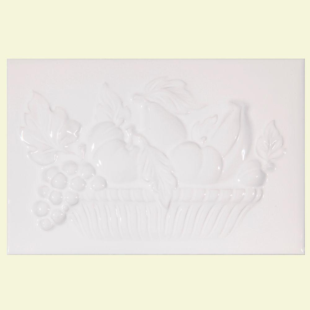 Merola Tile Bumpy Blanco Fruit Mural 8 in. x 12 in. Decor Ceramic Wall Tile