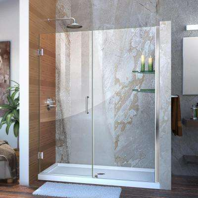 Unidoor 58 to 59 in. x 72 in. Frameless Hinged Pivot Shower Door in Chrome with Handle