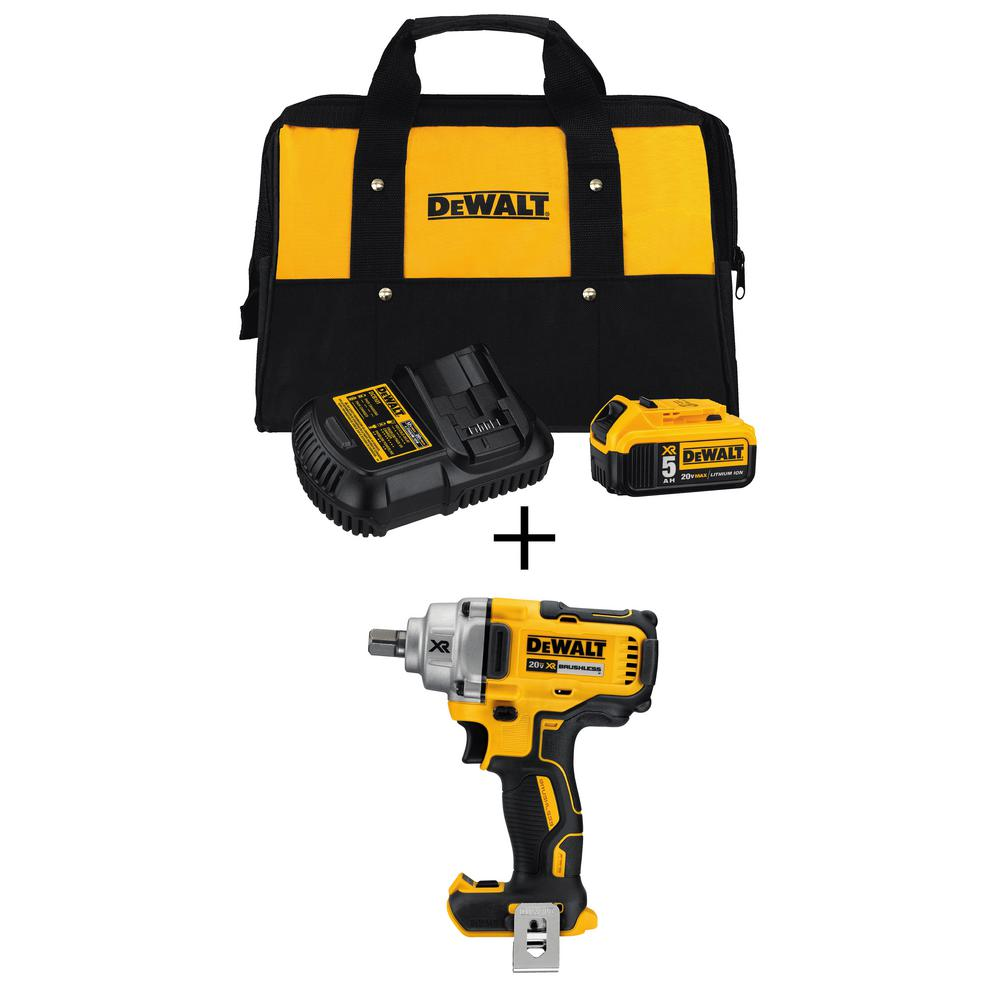 DEWALT 20-Volt MAX XR Cordless Brushless 1/2 in. Impact Wrench w/ Detent Pin Anvil, Bonus 20-Volt 5.0Ah Battery Pack & Charger was $399.0 now $219.0 (45.0% off)
