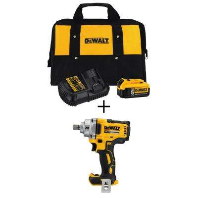 20-Volt MAX XR Cordless Brushless 1/2 in. Impact Wrench w/ Detent Pin Anvil, Bonus 20-Volt 5.0Ah Battery Pack & Charger