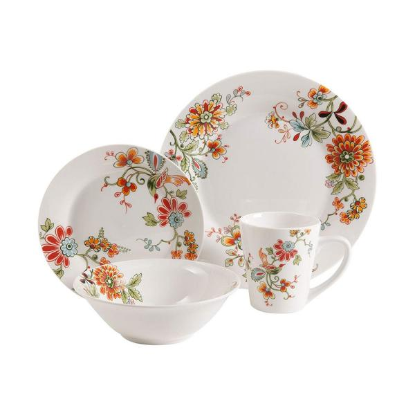 Gibson Home Doraville 16-Piece White Floral Decorated Dinnerware Set 92950.16RM