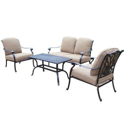 Hampton Cast Aluminum 4 Piece Patio Deep Seating Set With Sunbrella Canvas Teak Cushions