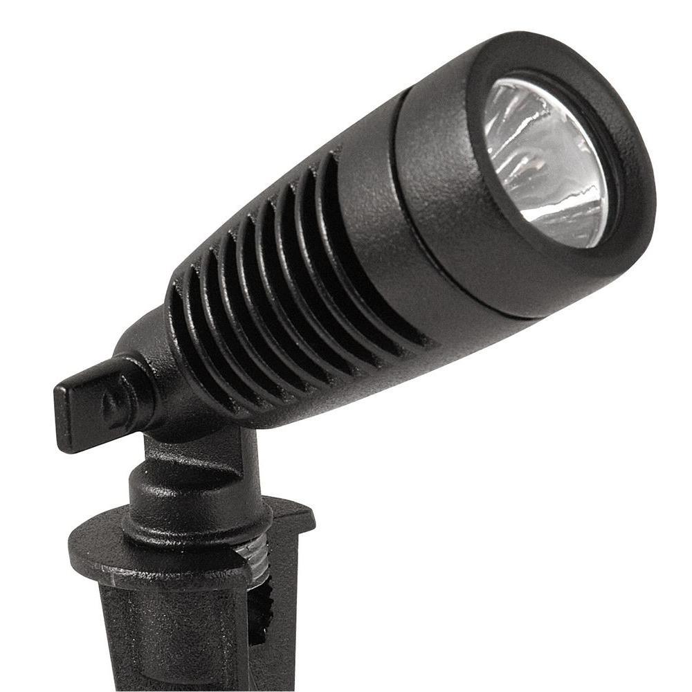 Low-Voltage 1-Watt Black Outdoor Integrated LED Adjustable Landscape Spot Light (2-Pack)