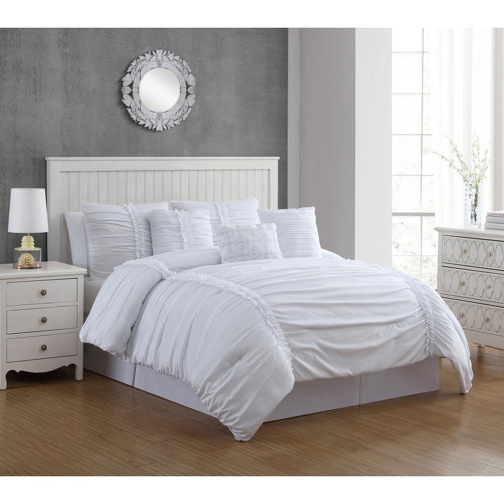 Geneva Home Fashion Corina 7-Piece White Queen Comforter Set CRN7CSQUENGHWH