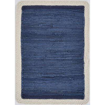 Bordered 19 in. x 13 in. Indigo Cotton Placemat (Set of 4)