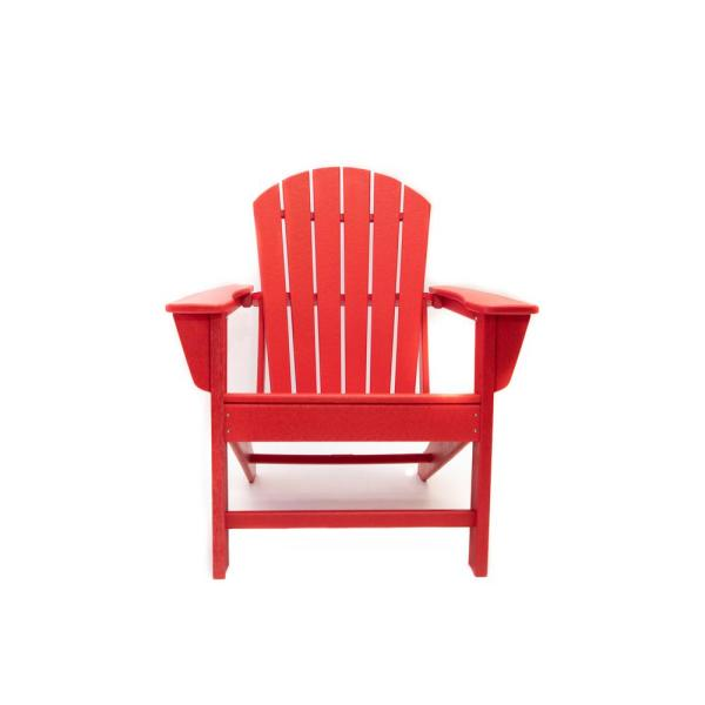 Hampton Red Plastic Outdoor Patio Adirondack Chair
