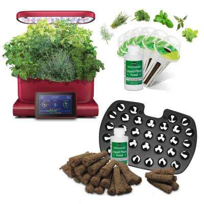 AeroGarden Harvest Touch, Red with Gourmet Herbs Seed Pod Kit and Bonus Seed Starter System