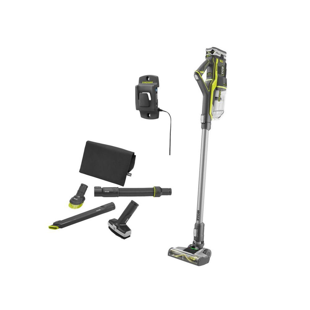 RYOBI 18-Volt ONE+ Stick Vacuum Cleaner with 18-Volt ONE+ 4.0 Ah LITHIUM+ Battery and 4-Piece Vacuum Accessory Kit