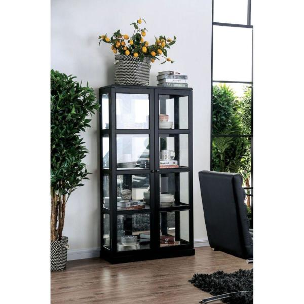 Transitional Black Wooden Curio Cabinet with Two Glass Doors and Four Shelves