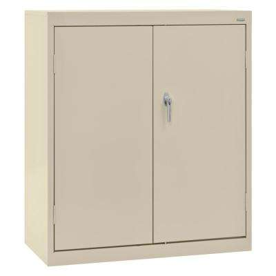 Classic Series 42 in. H x 36 in. W x 24 in. D Steel Counter Height Storage Cabinet with Adjustable Shelves in Putty