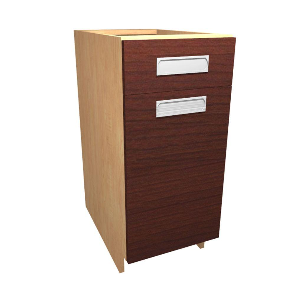 Home Decorators Collection Genoa Ready to Assemble 15 x 34.5 x 24 in. Base Cabinet with 1 Soft Close Door and 1 Soft Close Drawer in Cherry, Red/Thermo-Fused Melamine